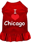 I Heart Chicago Screen Print Dog Dress Red XS (8)